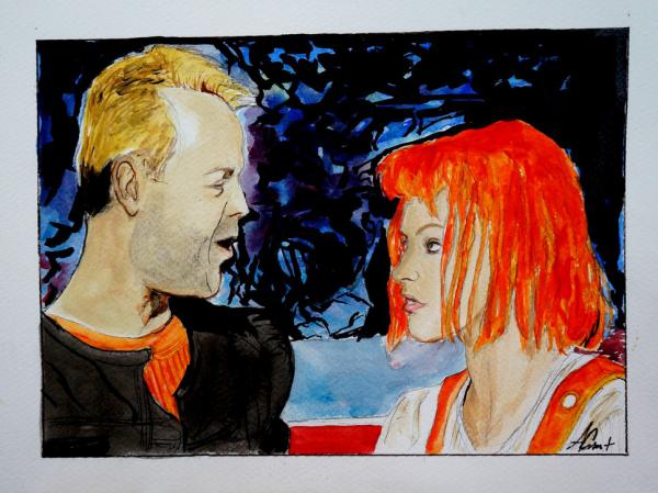Milla Jovovich, Bruce Willis by aurore.clement